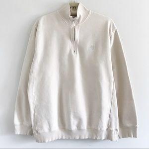 Timberland Cream Half Zip Cotton Sweatshirt M